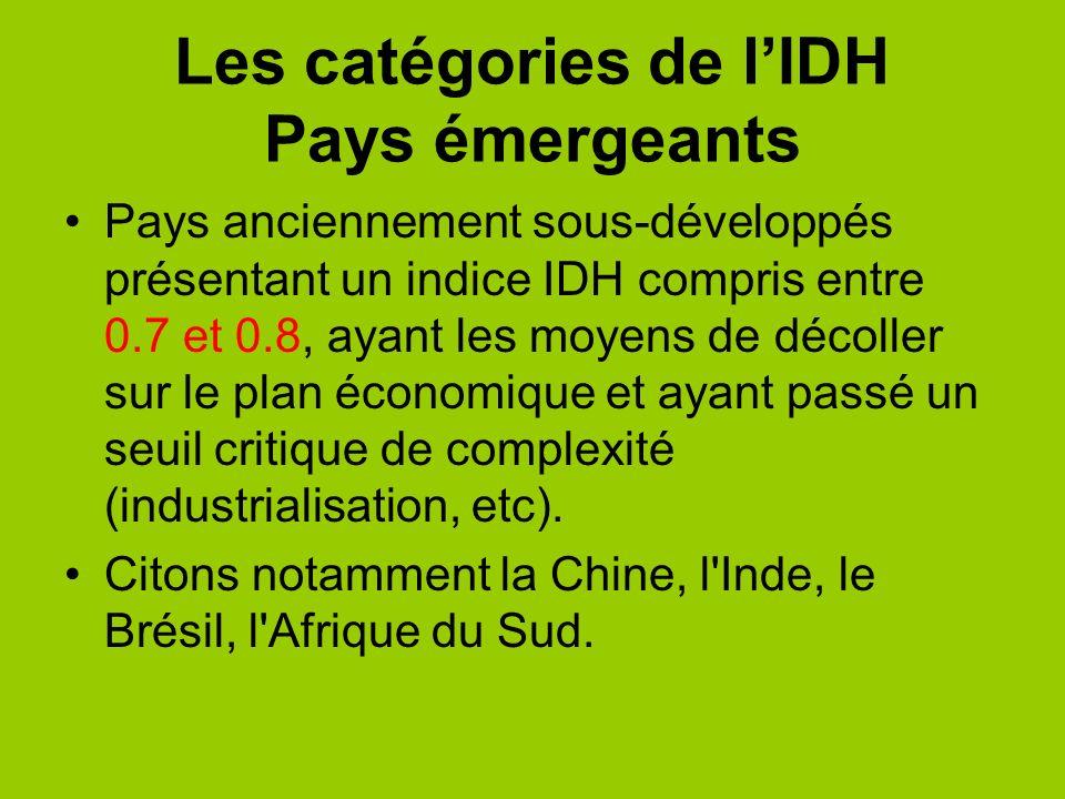Les catégories de lIDH Pays émergeants Pays anciennement sous-développés présentant un indice IDH compris entre 0.7 et 0.8, ayant les moyens de décoll