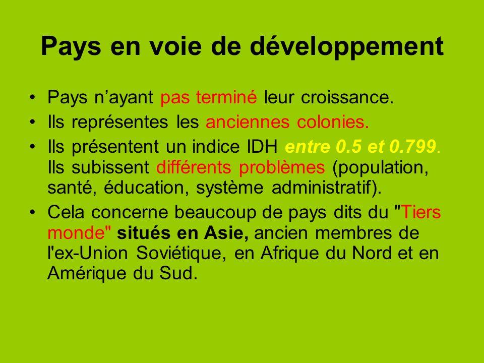 Pays en voie de développement Pays nayant pas terminé leur croissance. Ils représentes les anciennes colonies. Ils présentent un indice IDH entre 0.5