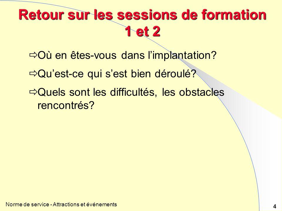 Norme de service - Attractions et événements 4 Retour sur les sessions de formation 1 et 2 Où en êtes-vous dans limplantation.