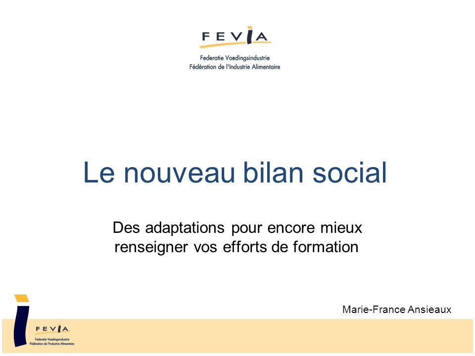 Le nouveau bilan social Des adaptations pour encore mieux renseigner vos efforts de formation Marie-France Ansieaux