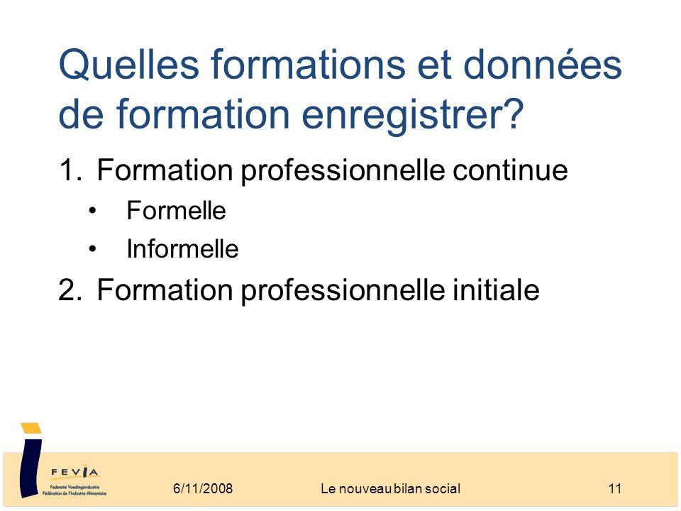 Quelles formations et données de formation enregistrer? 1.Formation professionnelle continue Formelle Informelle 2.Formation professionnelle initiale