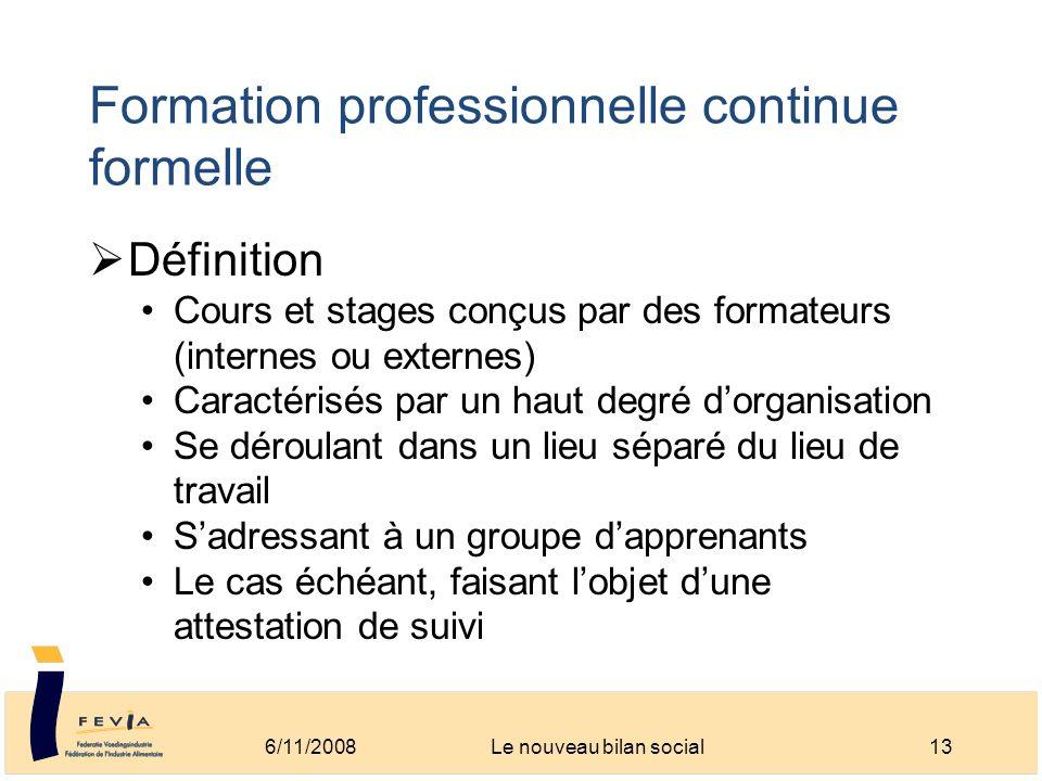 Formation professionnelle continue formelle Définition Cours et stages conçus par des formateurs (internes ou externes) Caractérisés par un haut degré