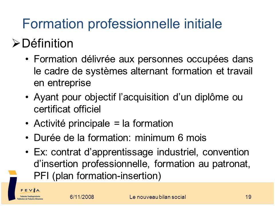 Formation professionnelle initiale Définition Formation délivrée aux personnes occupées dans le cadre de systèmes alternant formation et travail en en