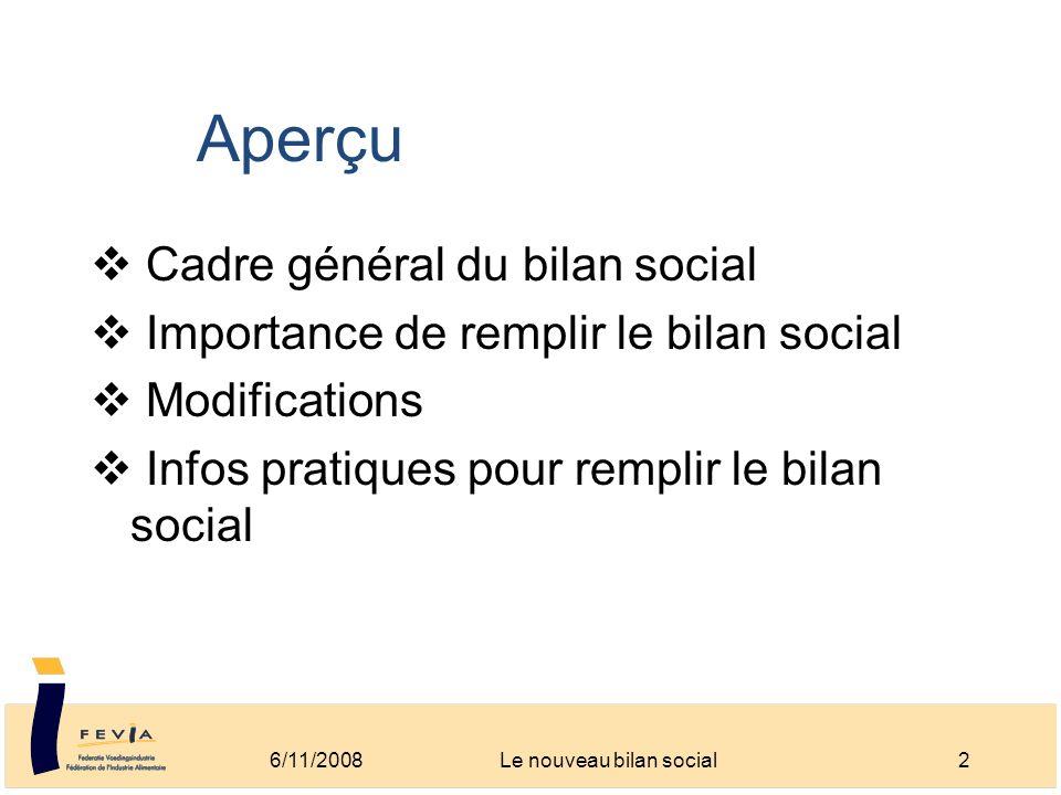 Aperçu Cadre général du bilan social Importance de remplir le bilan social Modifications Infos pratiques pour remplir le bilan social 6/11/20082Le nou