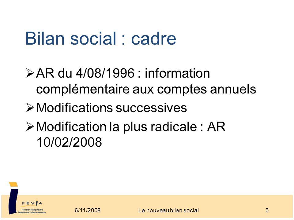 Bilan social : cadre AR du 4/08/1996 : information complémentaire aux comptes annuels Modifications successives Modification la plus radicale : AR 10/