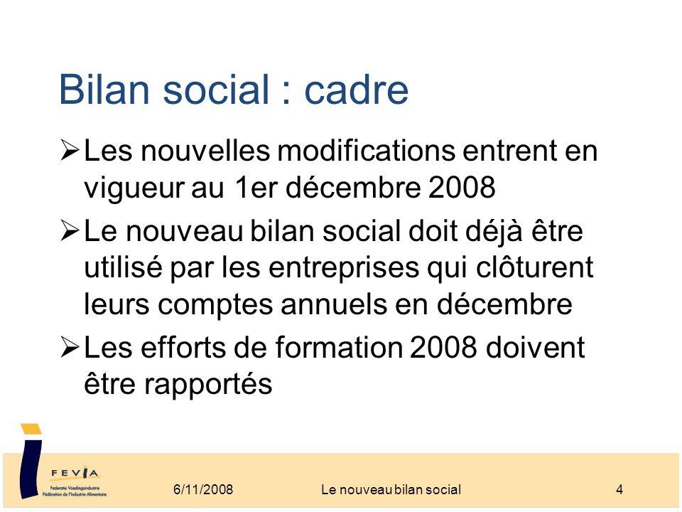 Bilan social : cadre Les nouvelles modifications entrent en vigueur au 1er décembre 2008 Le nouveau bilan social doit déjà être utilisé par les entrep