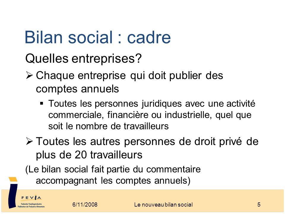 Bilan social : cadre Quelles entreprises? Chaque entreprise qui doit publier des comptes annuels Toutes les personnes juridiques avec une activité com