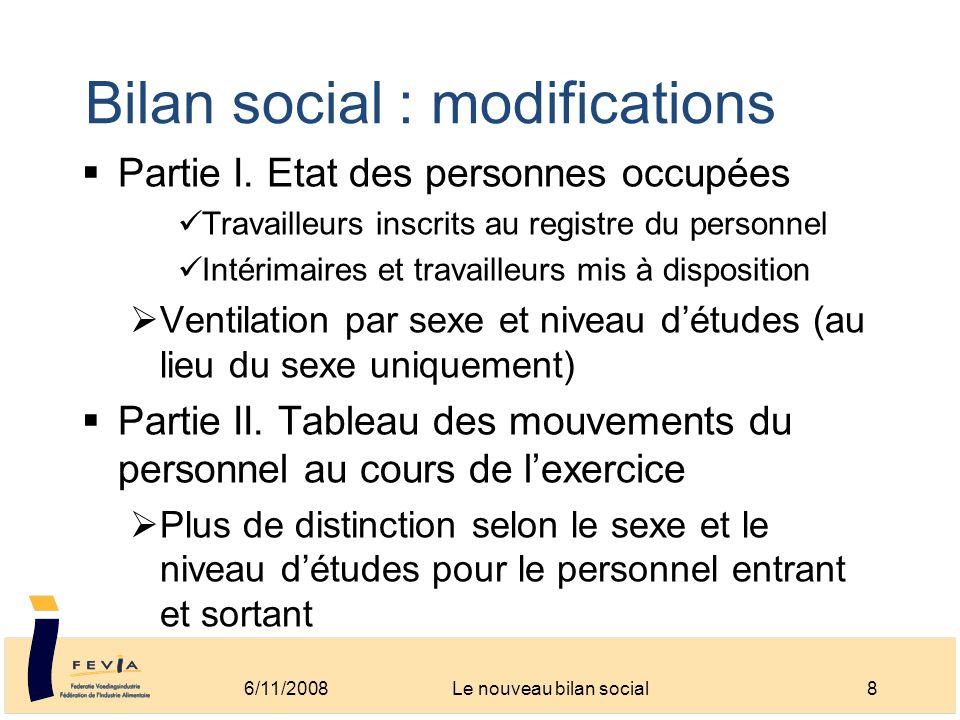 Bilan social : modifications Partie I. Etat des personnes occupées Travailleurs inscrits au registre du personnel Intérimaires et travailleurs mis à d