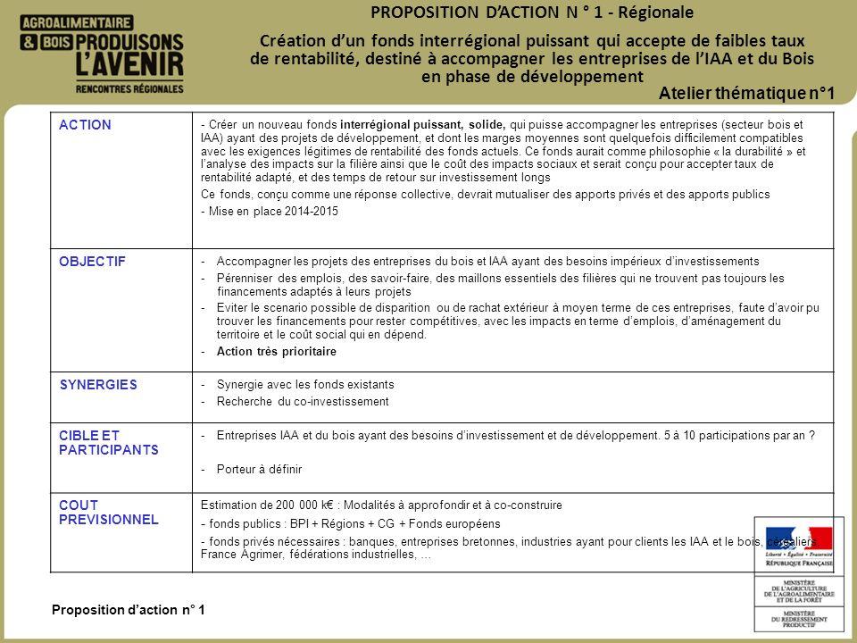 Proposition daction n° 1 PROPOSITION DACTION N ° 1 - Régionale Création dun fonds interrégional puissant qui accepte de faibles taux de rentabilité, d