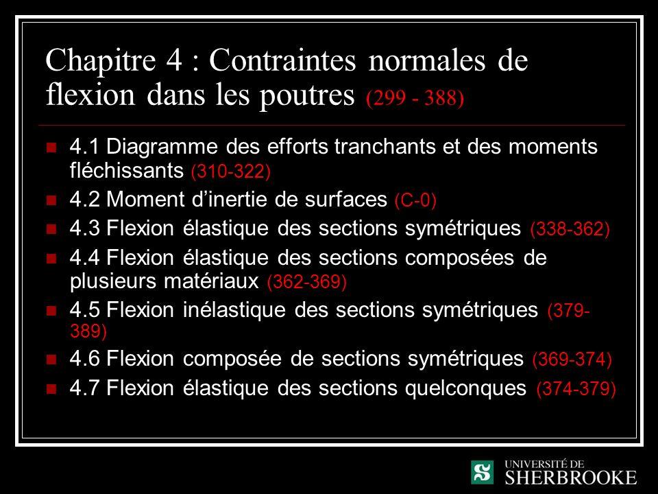 Chapitre 4 : Contraintes normales de flexion dans les poutres (299 - 388) 4.1 Diagramme des efforts tranchants et des moments fléchissants (310-322) 4.2 Moment dinertie de surfaces (C-0) 4.3 Flexion élastique des sections symétriques (338-362) 4.4 Flexion élastique des sections composées de plusieurs matériaux (362-369) 4.5 Flexion inélastique des sections symétriques (379- 389) 4.6 Flexion composée de sections symétriques (369-374) 4.7 Flexion élastique des sections quelconques (374-379)