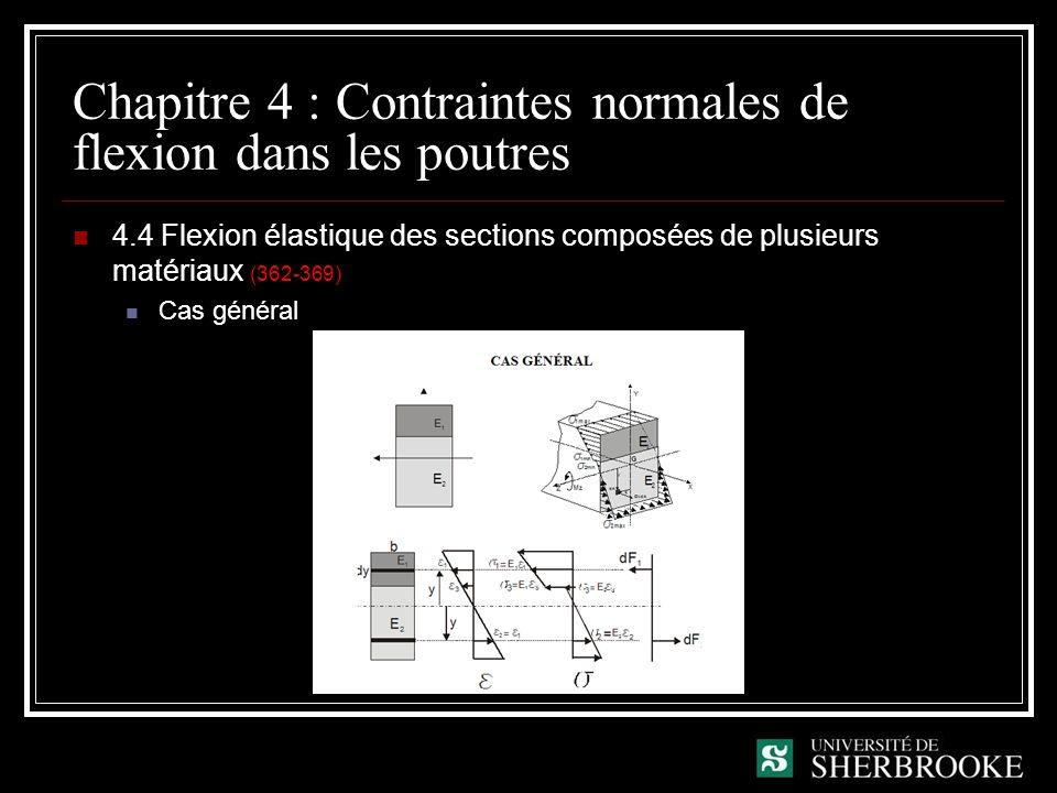Chapitre 4 : Contraintes normales de flexion dans les poutres 4.4 Flexion élastique des sections composées de plusieurs matériaux (362-369) Cas général