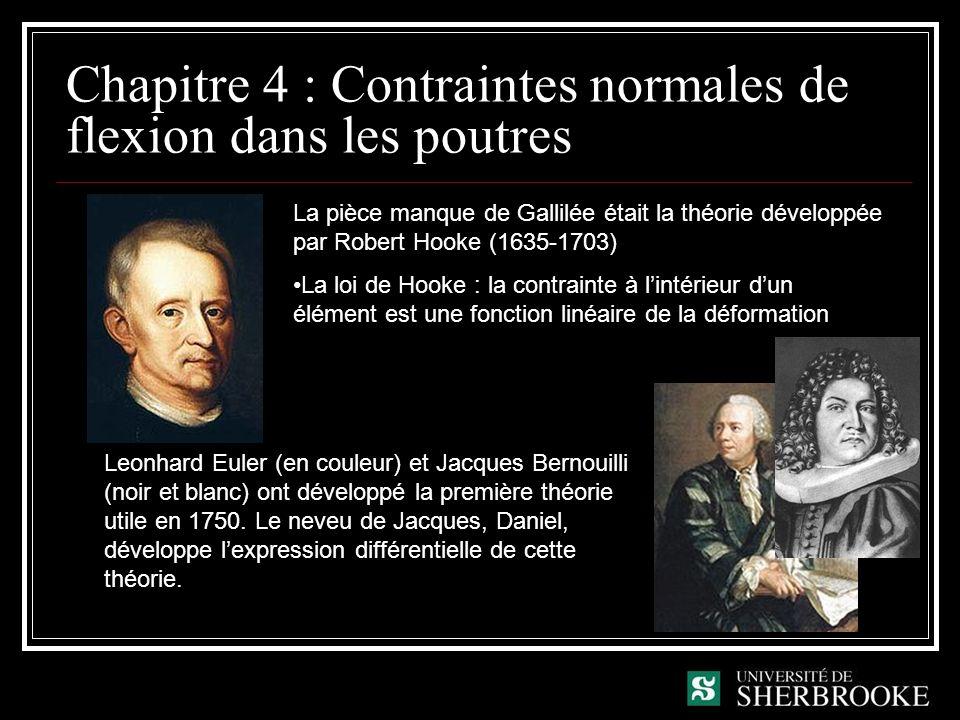 Chapitre 4 : Contraintes normales de flexion dans les poutres La pièce manque de Gallilée était la théorie développée par Robert Hooke (1635-1703) La loi de Hooke : la contrainte à lintérieur dun élément est une fonction linéaire de la déformation Leonhard Euler (en couleur) et Jacques Bernouilli (noir et blanc) ont développé la première théorie utile en 1750.
