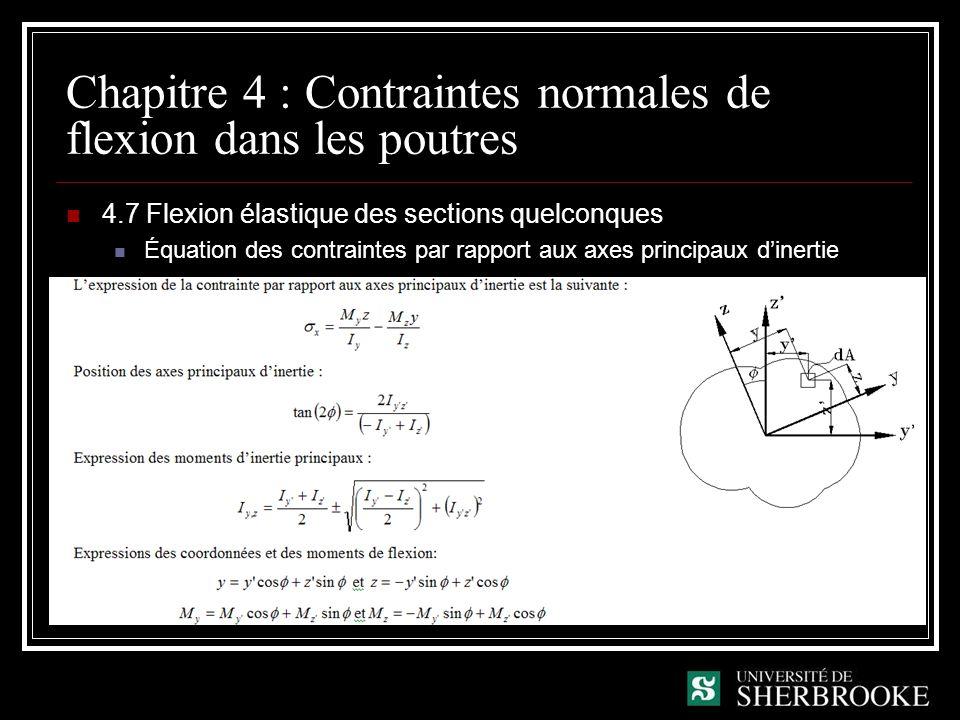 Chapitre 4 : Contraintes normales de flexion dans les poutres 4.7 Flexion élastique des sections quelconques Équation des contraintes par rapport aux axes principaux dinertie