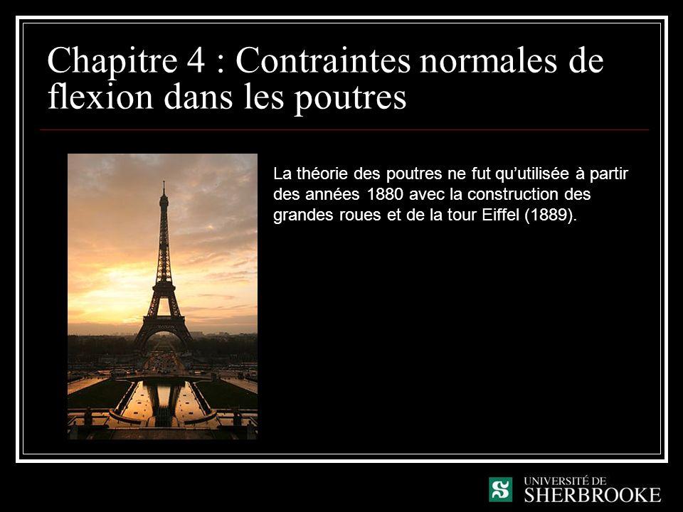 Chapitre 4 : Contraintes normales de flexion dans les poutres La théorie des poutres ne fut quutilisée à partir des années 1880 avec la construction des grandes roues et de la tour Eiffel (1889).