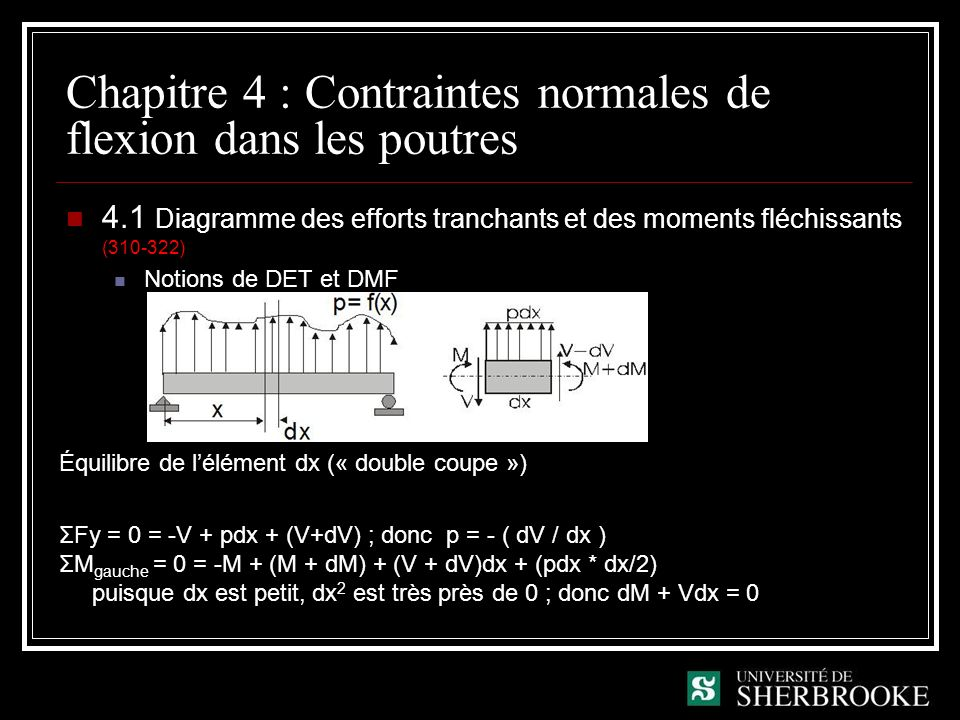 Chapitre 4 : Contraintes normales de flexion dans les poutres 4.1 Diagramme des efforts tranchants et des moments fléchissants (310-322) Notions de DET et DMF Équilibre de lélément dx (« double coupe ») ΣFy = 0 = -V + pdx + (V+dV) ; donc p = - ( dV / dx ) ΣM gauche = 0 = -M + (M + dM) + (V + dV)dx + (pdx * dx/2) puisque dx est petit, dx 2 est très près de 0 ; donc dM + Vdx = 0