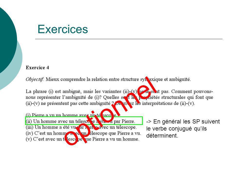 Exercices -> En général les SP suivent le verbe conjugué quils déterminent. optionnel