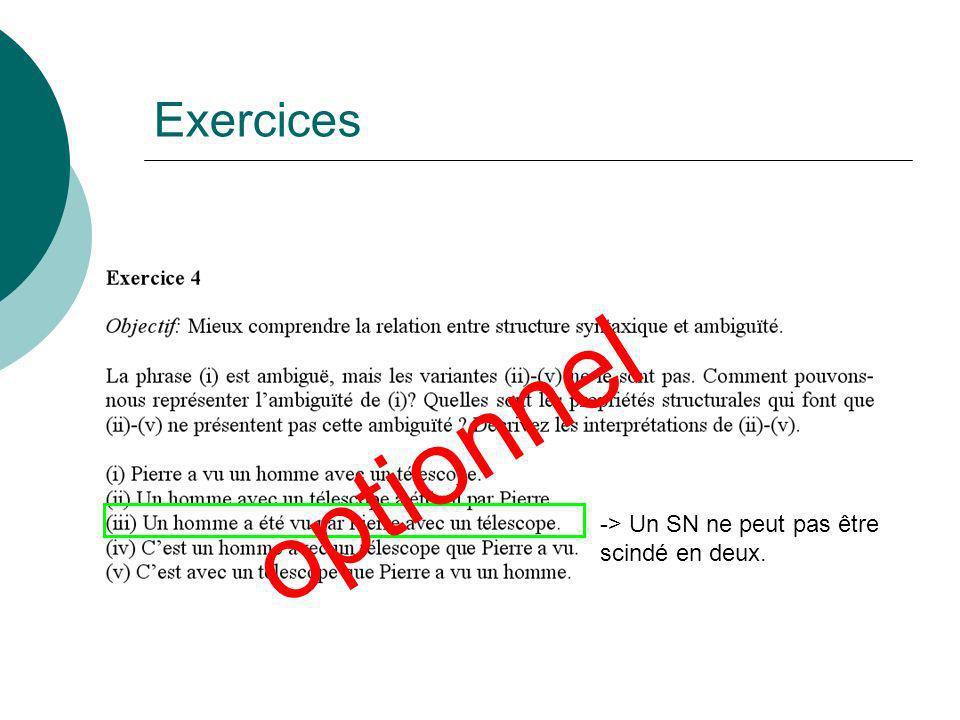 Exercices -> Un SN ne peut pas être scindé en deux. optionnel