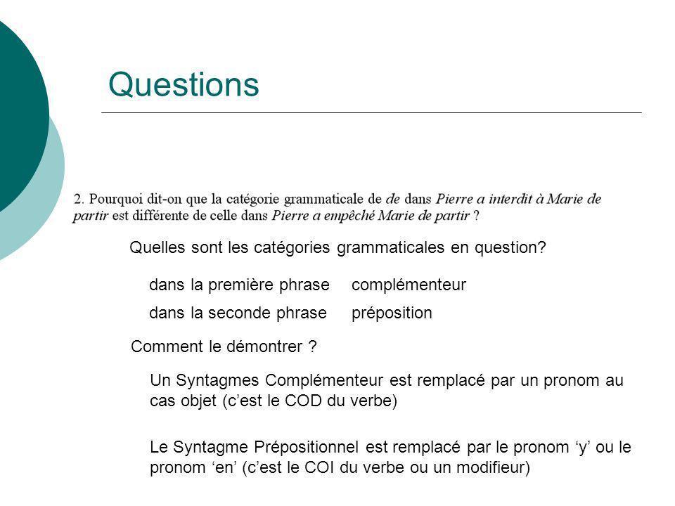 Questions Quelles sont les catégories grammaticales en question? dans la première phrase dans la seconde phrase complémenteur préposition Comment le d