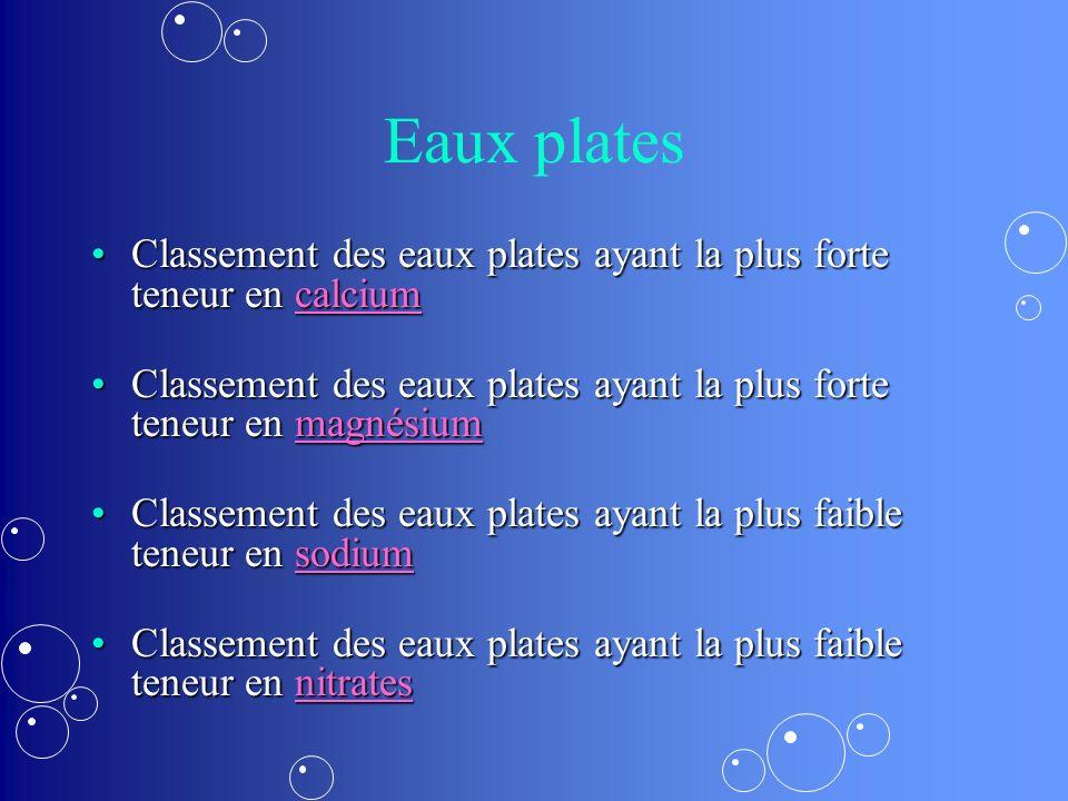 Eaux plates Classement des eaux plates ayant la plus forte teneur en calciumClassement des eaux plates ayant la plus forte teneur en calciumcalcium Cl