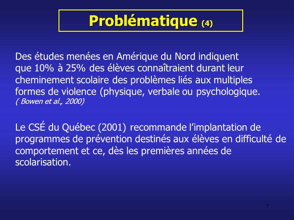 36 Conclusion (3) Le CSÉ (2001) recommande limplantation de programmes de prévention destinés aux élèves en difficulté de comportement et ce, dès les premières années de scolarisation.