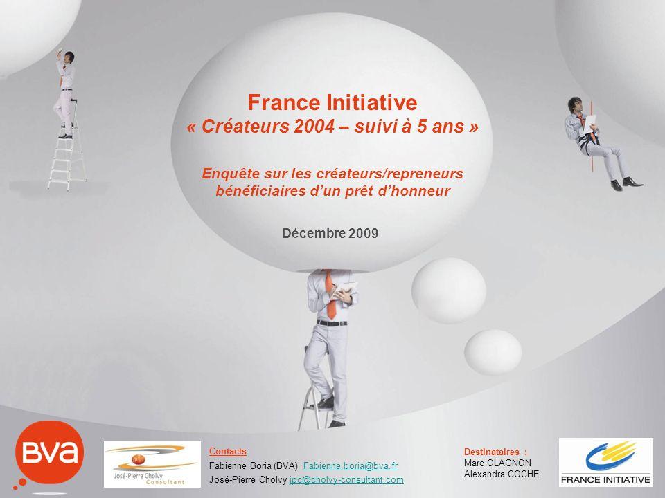 France Initiative « Créateurs 2004 – suivi à 5 ans » Enquête sur les créateurs/repreneurs bénéficiaires dun prêt dhonneur Décembre 2009 Contacts Fabie