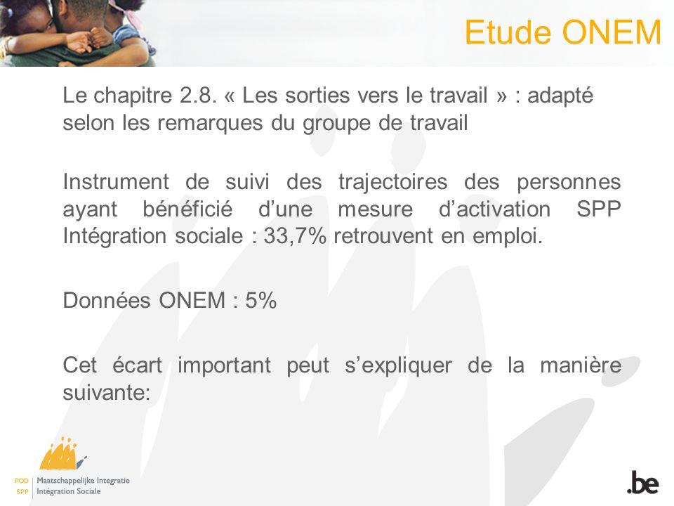 Etude ONEM Le chapitre 2.8. « Les sorties vers le travail » : adapté selon les remarques du groupe de travail Instrument de suivi des trajectoires des