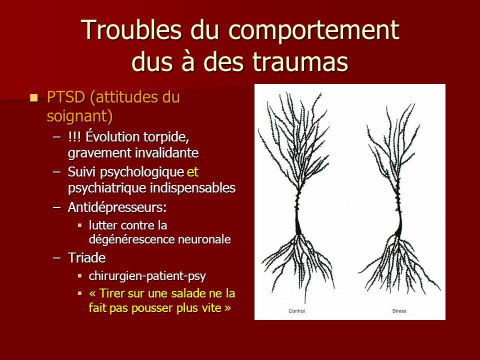 Troubles du comportement dus à des traumas PTSD (attitudes du soignant) PTSD (attitudes du soignant) –!!.