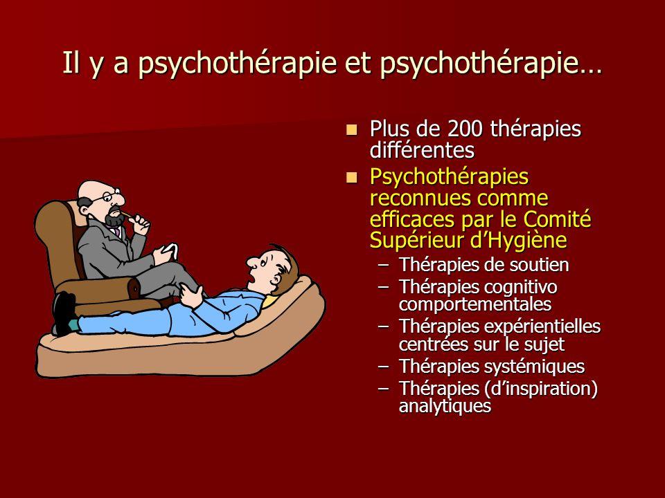 Il y a psychothérapie et psychothérapie… Plus de 200 thérapies différentes Plus de 200 thérapies différentes Psychothérapies reconnues comme efficaces par le Comité Supérieur dHygiène Psychothérapies reconnues comme efficaces par le Comité Supérieur dHygiène –Thérapies de soutien –Thérapies cognitivo comportementales –Thérapies expérientielles centrées sur le sujet –Thérapies systémiques –Thérapies (dinspiration) analytiques