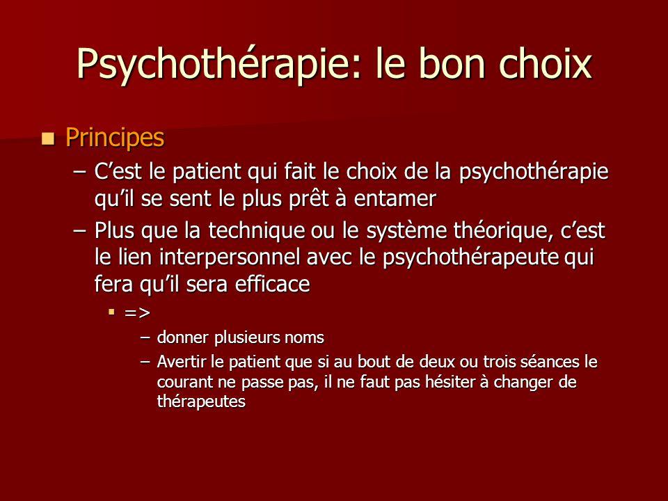 Psychothérapie: le bon choix Principes Principes –Cest le patient qui fait le choix de la psychothérapie quil se sent le plus prêt à entamer –Plus que la technique ou le système théorique, cest le lien interpersonnel avec le psychothérapeute qui fera quil sera efficace => => –donner plusieurs noms –Avertir le patient que si au bout de deux ou trois séances le courant ne passe pas, il ne faut pas hésiter à changer de thérapeutes