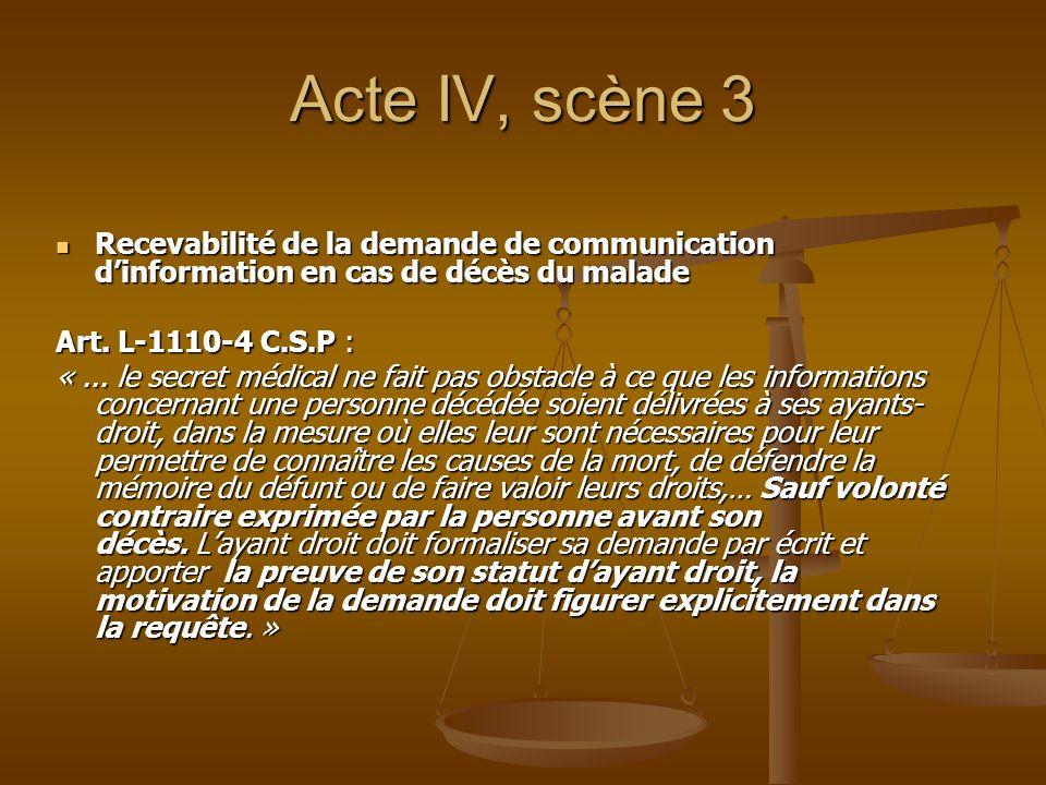 Acte IV, scène 3 Recevabilité de la demande de communication dinformation en cas de décès du malade Recevabilité de la demande de communication dinfor