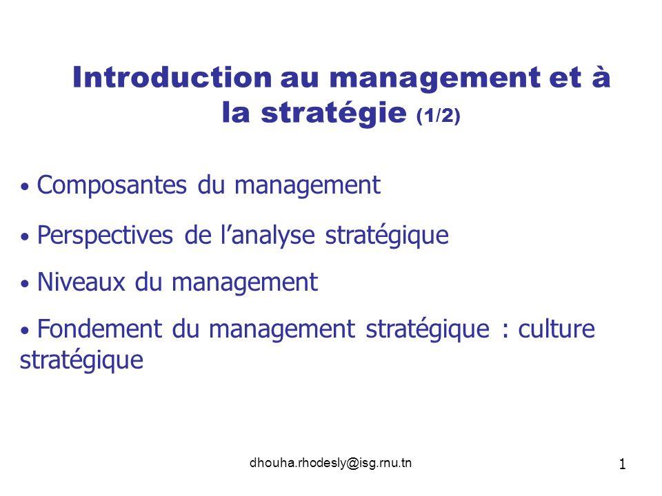 dhouha.rhodesly@isg.rnu.tn Introduction au management et à la stratégie (1/2) Composantes du management Perspectives de lanalyse stratégique Niveaux d