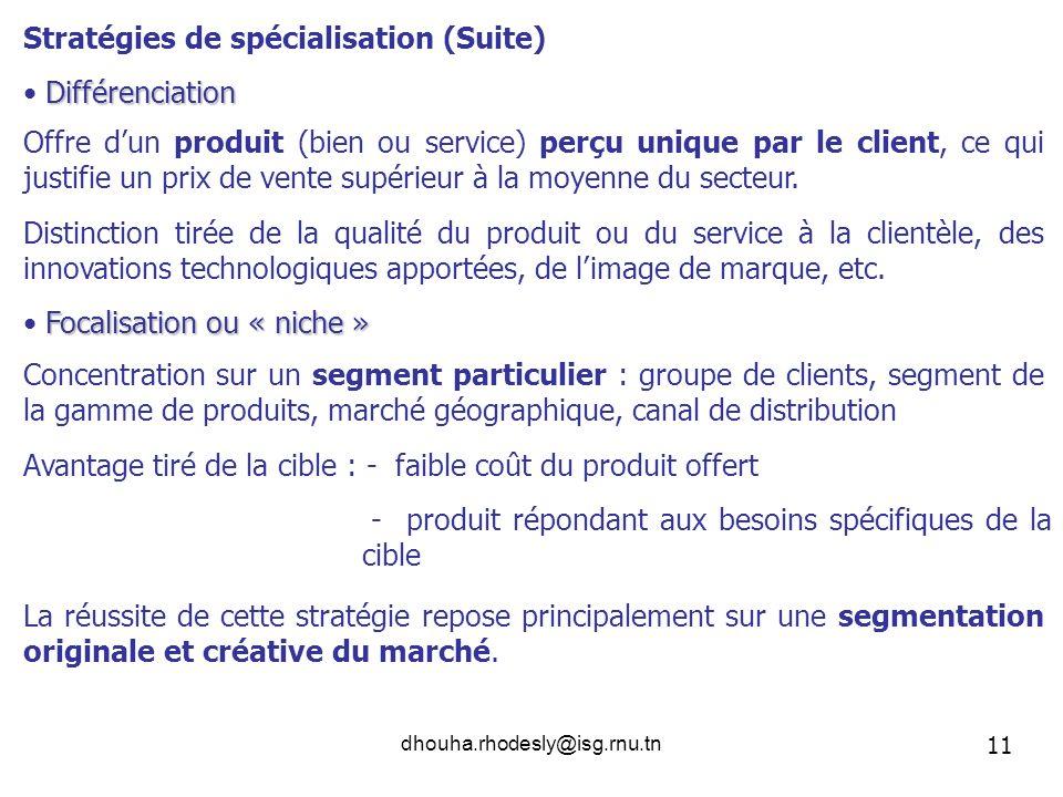 dhouha.rhodesly@isg.rnu.tn Différenciation Focalisation ou « niche » Stratégies de spécialisation (Suite) Offre dun produit (bien ou service) perçu un