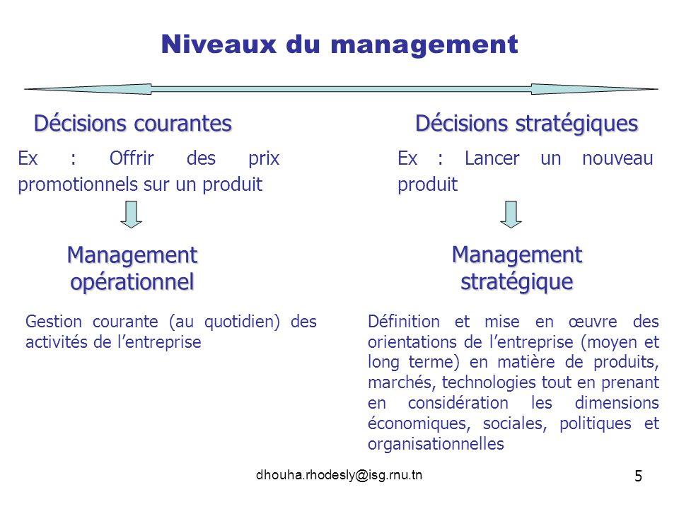 dhouha.rhodesly@isg.rnu.tn Niveaux du management Décisions courantes Décisions stratégiques Ex : Offrir des prix promotionnels sur un produit Ex : Lan