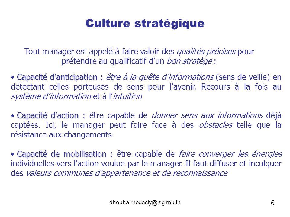 dhouha.rhodesly@isg.rnu.tn Culture stratégique Tout manager est appelé à faire valoir des qualités précises pour prétendre au qualificatif dun bon str