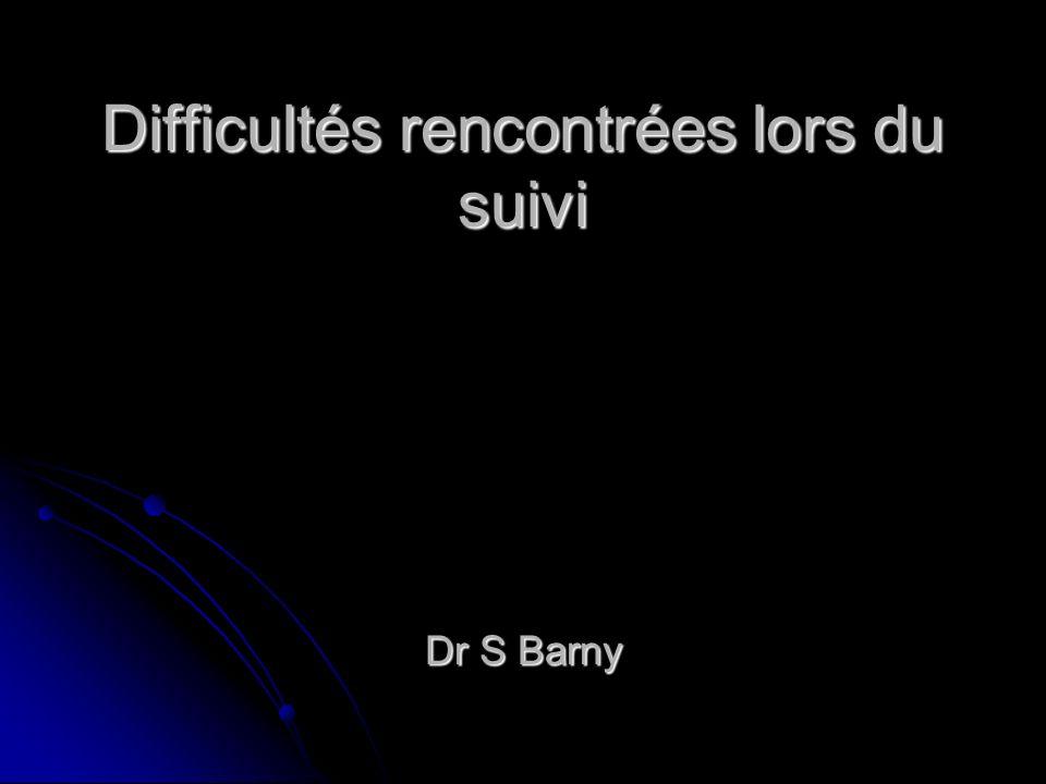 Difficultés rencontrées lors du suivi Dr S Barny