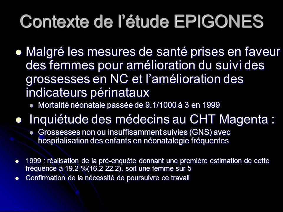 Contexte de létude EPIGONES Malgré les mesures de santé prises en faveur des femmes pour amélioration du suivi des grossesses en NC et lamélioration d