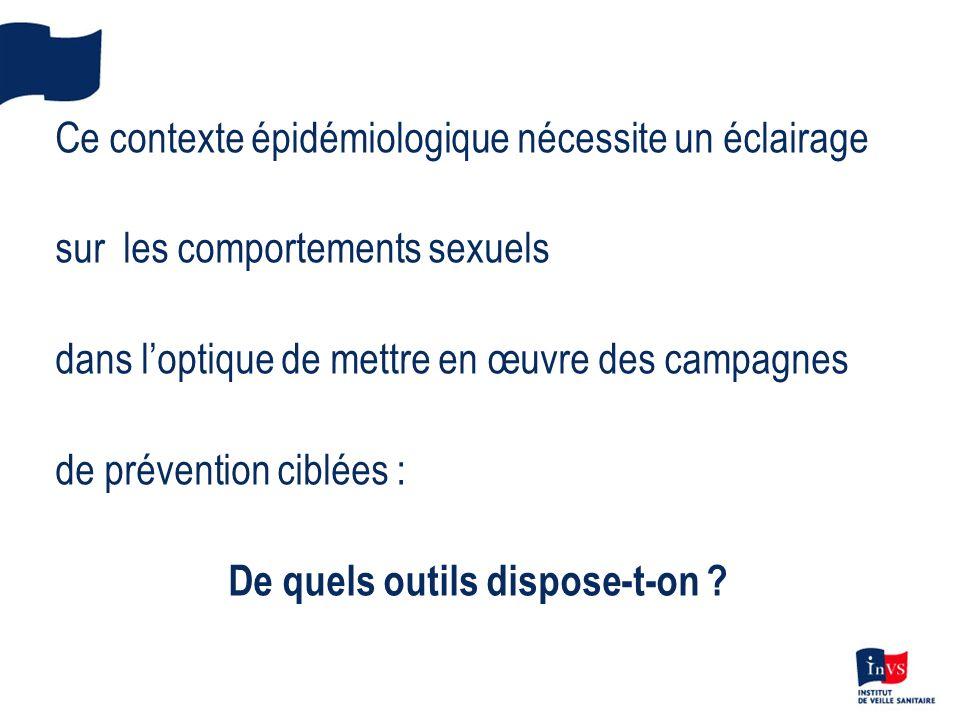 Ce contexte épidémiologique nécessite un éclairage sur les comportements sexuels dans loptique de mettre en œuvre des campagnes de prévention ciblées