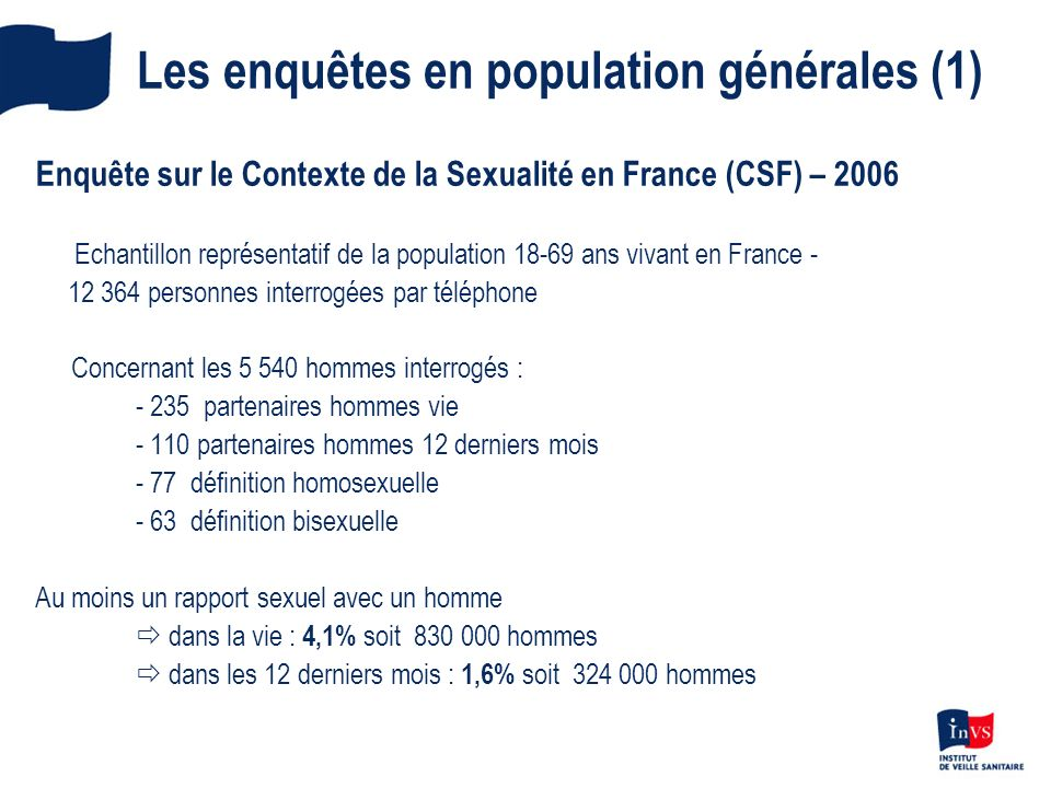 Les enquêtes en population générales (1) Enquête sur le Contexte de la Sexualité en France (CSF) – 2006 Echantillon représentatif de la population 18-