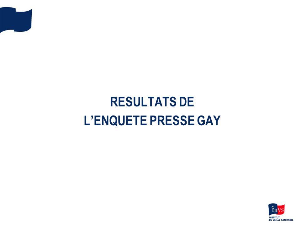 RESULTATS DE LENQUETE PRESSE GAY