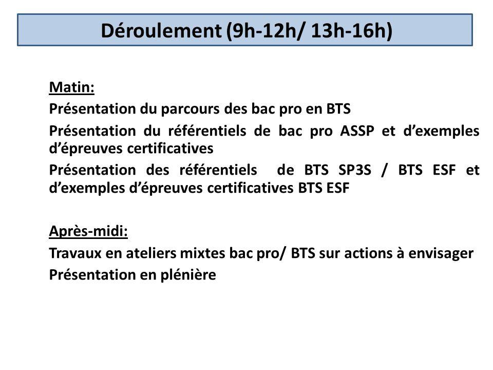 Déroulement (9h-12h/ 13h-16h) Matin: Présentation du parcours des bac pro en BTS Présentation du référentiels de bac pro ASSP et dexemples dépreuves c