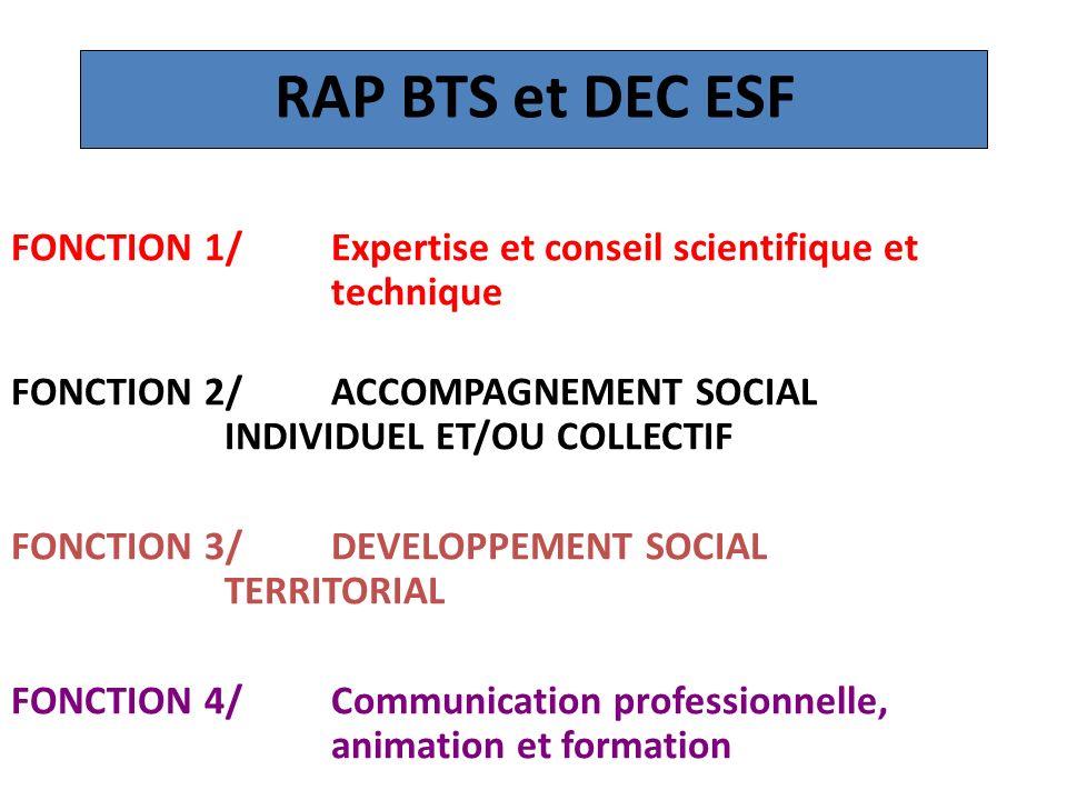 RAP BTS et DEC ESF FONCTION 1/Expertise et conseil scientifique et technique FONCTION 2/ACCOMPAGNEMENT SOCIAL INDIVIDUEL ET/OU COLLECTIF FONCTION 3/ D