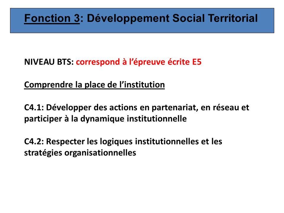 NIVEAU BTS: correspond à lépreuve écrite E5 Comprendre la place de linstitution C4.1: Développer des actions en partenariat, en réseau et participer à