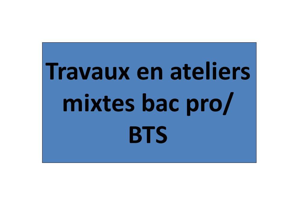 Travaux en ateliers mixtes bac pro/ BTS