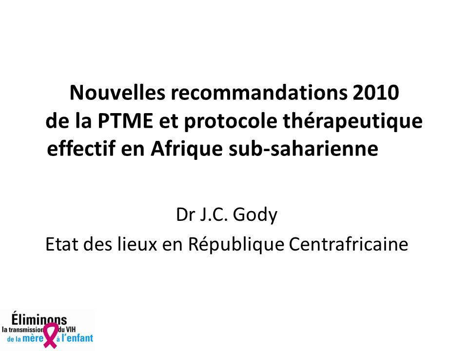 Nouvelles recommandations 2010 de la PTME et protocole thérapeutique effectif en Afrique sub-saharienne Dr J.C.