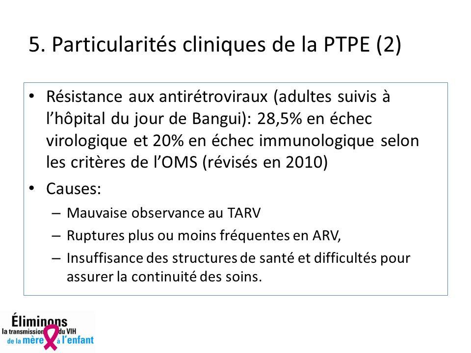 Résistance aux antirétroviraux (adultes suivis à lhôpital du jour de Bangui): 28,5% en échec virologique et 20% en échec immunologique selon les critères de lOMS (révisés en 2010) Causes: – Mauvaise observance au TARV – Ruptures plus ou moins fréquentes en ARV, – Insuffisance des structures de santé et difficultés pour assurer la continuité des soins.