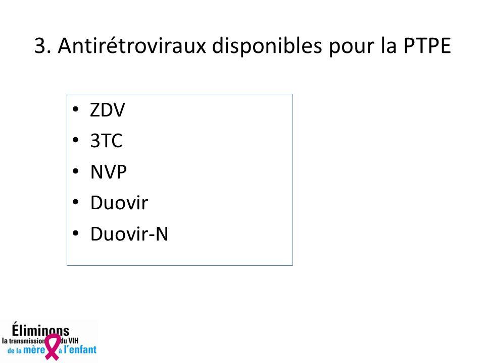 3. Antirétroviraux disponibles pour la PTPE ZDV 3TC NVP Duovir Duovir-N
