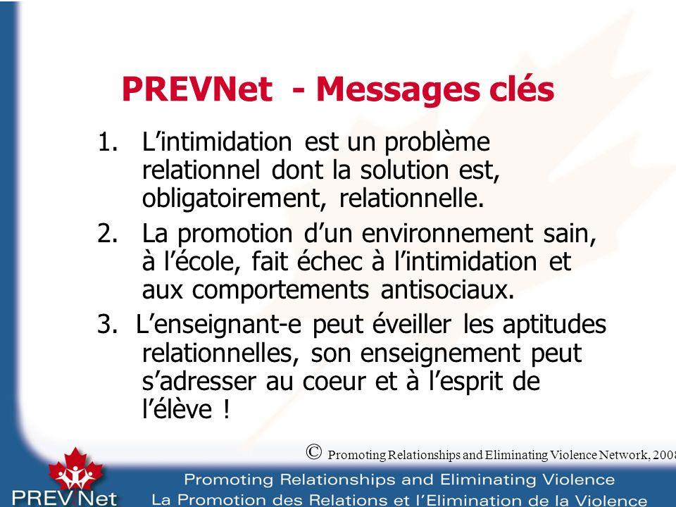 PREVNet - Messages clés 1.Lintimidation est un problème relationnel dont la solution est, obligatoirement, relationnelle.