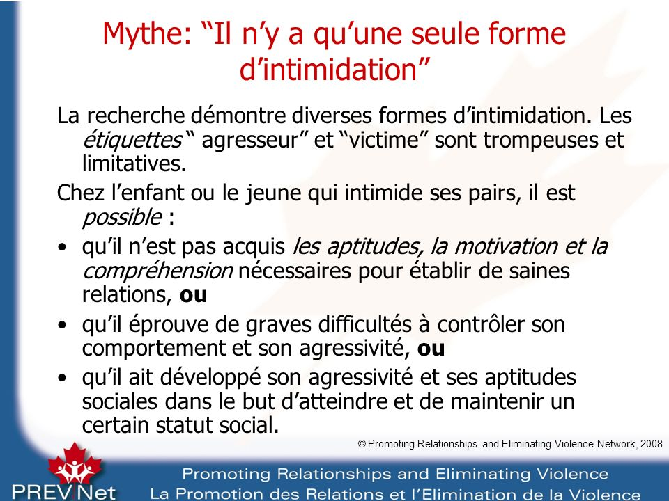 Suggestions dactivité en classe Mythes et intimidation: quiz du vrai ou faux © Promoting Relationships and Eliminating Violence Network, 2008