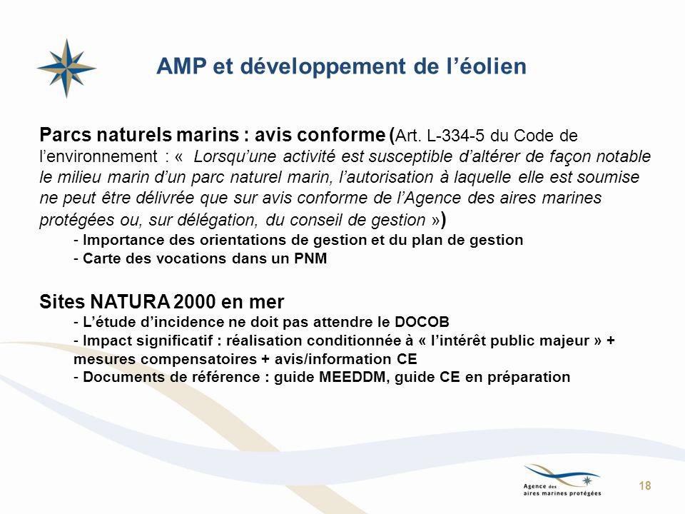 AMP et développement de léolien Parcs naturels marins : avis conforme ( Art. L-334-5 du Code de lenvironnement : « Lorsquune activité est susceptible
