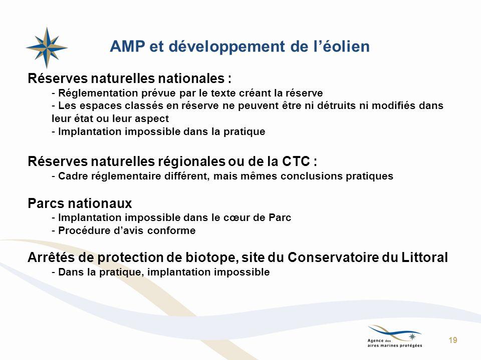 AMP et développement de léolien Réserves naturelles nationales : - Réglementation prévue par le texte créant la réserve - Les espaces classés en réser